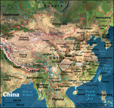 Colorful China physical geography